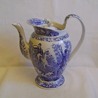 C19th Pearlware Coffee Pot with Fox Hunting Transfer Print: Larger 1 of 2 A/F