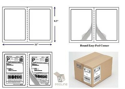 "1000 Quality Round Corner Shipping Labels 2 Per Sheet 8.5"" x 5.5"""