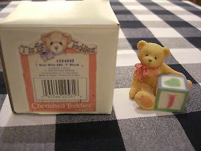 """Cherished Teddies T Is For Teddies Bear With Abc Initial """"j"""" Block"""
