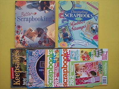 Scrapbooking Book & Magazine Lot of 6 Decorating Scrapbooks w Rubber Stamps etc