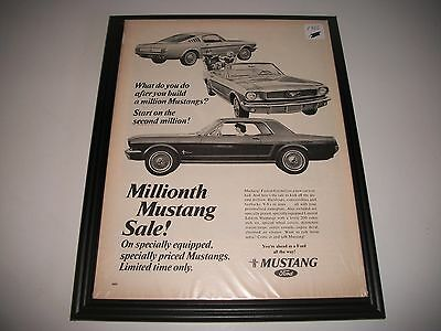 "1966 Ford Mustang Original Print Ad Garage Art  ""millionth Mustang Sale"""