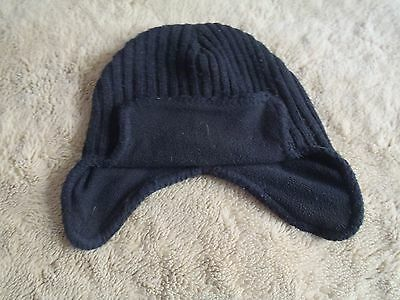 Black winter hat knitted with fleece lining 4-8 years