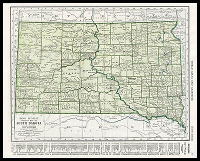 SOUTH DAKOTA Indian Reservation U.S. State 1945 antique color lithograph Map