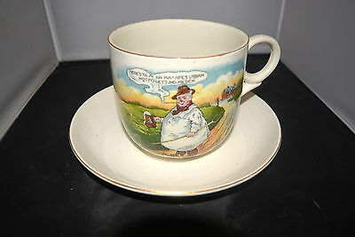 Authentic Vintage Tykes Motto Extra Large Cup And Saucer #W