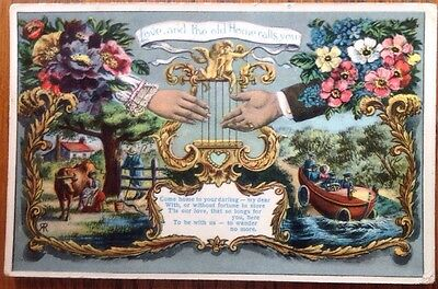Postcard Love and The Old Home Calls You Vintage Car Haslingden Saxony Lyre