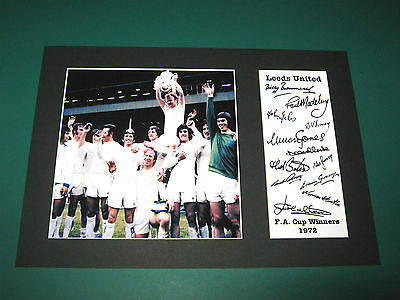 Leeds United Fa Cup Winners 1972 A4 Photo Mount Signed Reprint Autographs