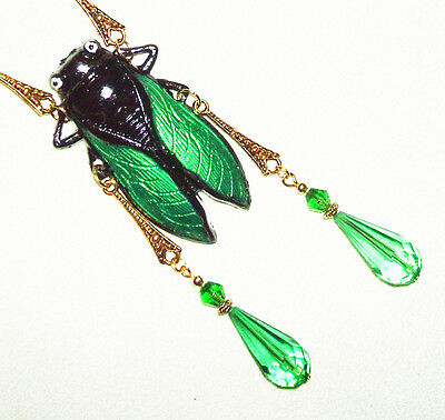 CICADA Necklace GREEN Beaded Drops Art Nouveau Deco Egyptian Revival Sautoir