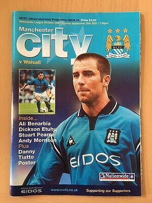 Manchester City Vs Walsall Football Programme From 2001