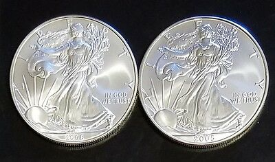 Lot Of (2) 2005 And 2008 American Silver Eagle $1 Dollar Coin No Reserve