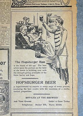 1911 San Francisco Chronicle Newspaper Ad - Union Brewing Co. Hopsburger Beer