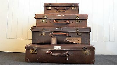 Antique Vintage set of 4 stacking luggage - suitcases