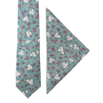 Floral Blue White Pink Skinny Cotton Tie & Pocket Square Set Groomsmen Set