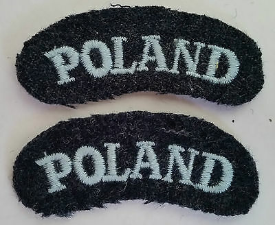 """WWII Polish Air Force Army shoulder titles """"POLAND"""" embroidered - repro"""
