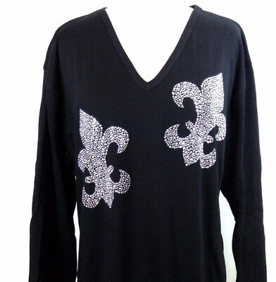 LARGE Hand Embellished Mardi Gras Shiny Silver Two Fleur De Lis Long Top Shirt