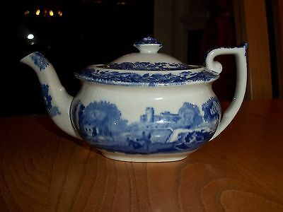 Copeland Spode's Italian Miniature Teapot - Oval Blue Backstamp