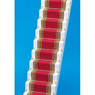 Red & Gold Edged Stair Carpet, Dolls House Miniature, Hall Staircase accessory