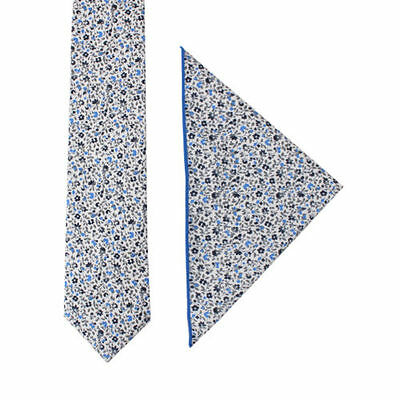 Light Blue Black Floral Skinny Cotton Tie & Pocket Square Set Groomsmen Set
