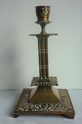 19thc Victorian Gothic style brass candlestick by Adolph Frankau & Co.London