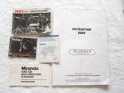 Vintage Pentax Lenses & Accessories + Other Paperwork - Dated 1985
