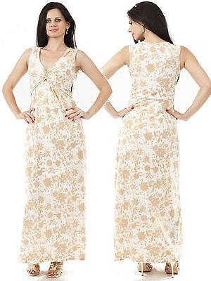 New Ladies Maxi Dress Beige Lined BNWOT UK Size 8 Summer Evening