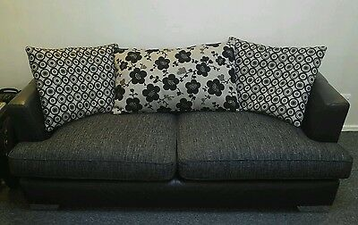 3 seater black grey sofa