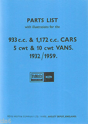 Ford Parts List 933cc 1172cc cars and vans 1932-1959 Model Y Anglia Prefect *NEW