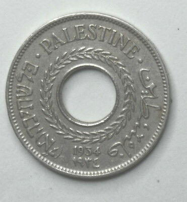 1934 Palestine 5 Mils Low Mintage Year Only 500,000 Minted Rare Coin