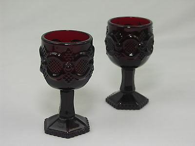 """Set of 2 Avon Ruby Red Sandwich Glass Small Stemmed Liqueur Goblets - 4.5"""" Tall"""