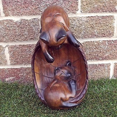 Wooden Carving Of Pair Of Kittens Playing