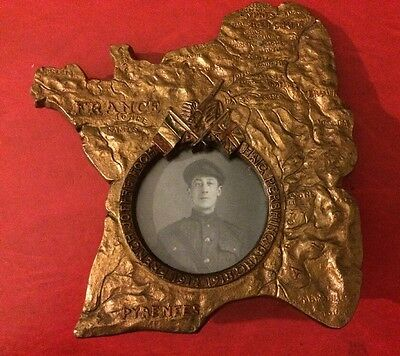 WW1 Named cast iron Memory of the western front photo frame to 14th Essex Sgt.
