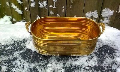"Vintage Solid Brass Flower Planter Pot with Handles  ""India""   9"" Long"