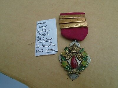 RARE ww1 wartime issue primrose league blood donor medal   very rare medal  LOOK