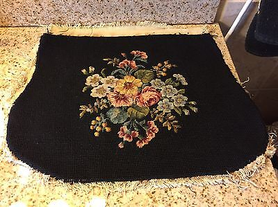 Vintage Floral Needlepoint Chair Cover On Black Blackground