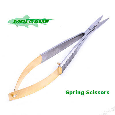 MDI Game Pro-Deluxe Fly Tying Spring Stainless Steel Scissors 120mm Gold Handle