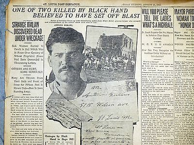 1911 St. Louis Newspaper Page - Black Hand Blackmail Bombing