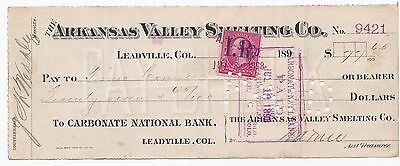 Old Check - 1898 - Arkansas Valley Smelting Leadville, Co. Carbonate National