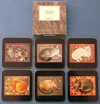 Vintage Lesley Ann Ivory Cats Cloverleaf Cork Backed Coasters Boxed Table
