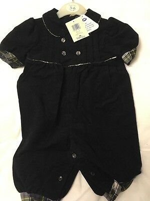 Vintage Retro Bodysuit Outfit Boots 3-6 Months Navy