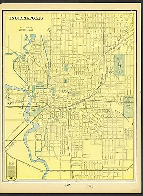 Vintage Street Map of: INDIANAPOLIS (Indiana) & LOUISVILLE (Kentucky) In Color