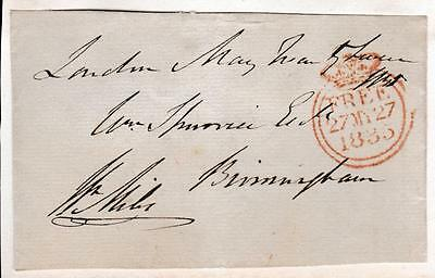 GB 1835 Free Frank Front signed W MILES MP Chippenham, New Romney, E Somerset