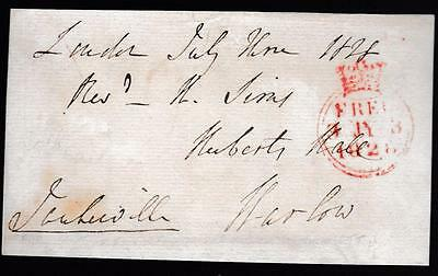 GB 1828 Free Frank Front signed TANKERVILLE 5th Earl