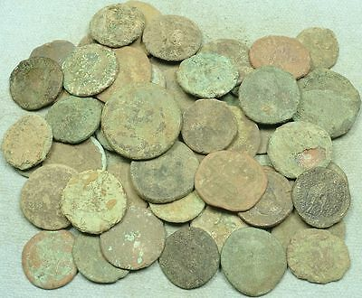 Lot Of 50 Uncleaned Large Roman Bronze Coins