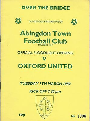 ABINGDON TOWN v OXFORD UNITED 88-9 Floodlight Opening  Friendly Programme