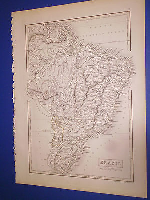 100% Original Brazil  Map By Black/hall C1844 Vgc Low Postage