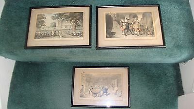 3 Dr Syntax by Rowlandson framed vintage prints including Miss Worthys Marriage