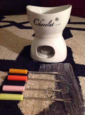 BRAND NEW Chocolate Fondue Set With Forks And Candle BNIB! Two Available!