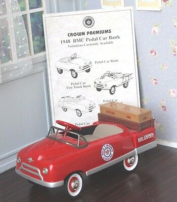 ❤Limited Edition Red Crown Gasoline 1:6 Doll Scale Die Cast Pedal Car Bank COA❤