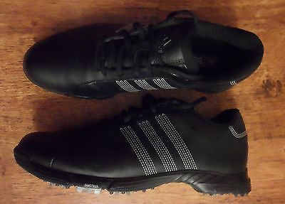 ADIDAS Black Synthetic Leather Traxion Golf Shoes/Trainers UK 10