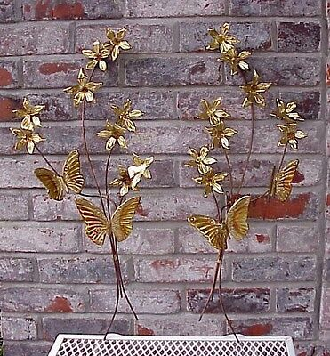 Vintage Home Interiors Gold Metal Tin Butterfly and Flower Wall Hanging Art Swag