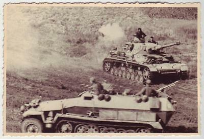 GERMAN WWII PHOTO FROM RUSSIAN ARCHIVE: Sd.Kfz. 251 FIGHTING VEHICLE & PANZER IV